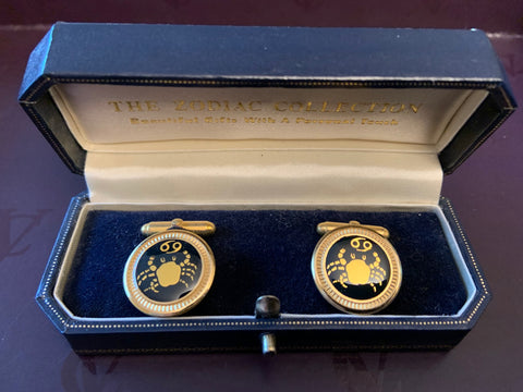 Zodiac 18-Karat Gold Plated Navy Enamel Cufflinks - Cancer
