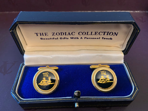 Zodiac 18-Karat Gold Plated Navy Enamel Cufflinks - Virgo