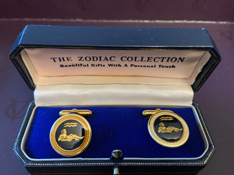 Zodiac 18-Karat Gold Plated Navy Enamel Cufflinks - Aquarius
