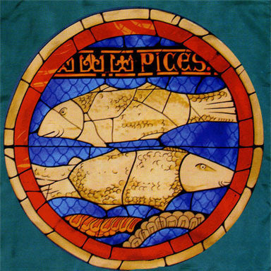 100% Silk Lausanne Cathedral Stained Glass Scarf - Pisces
