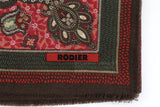Rodier - 100% Wool Shawl Checker Paisley Brown/Olive 2554-1