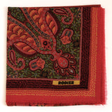Rodier - 100% Wool Shawl Checker Paisley Red/Orange 2554-4