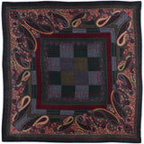 Rodier - 100% Wool Shawl Checker Paisley Navy/Grey 2554-3