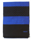 Rodier - Wool Striped Muffler Royal Blue/Black