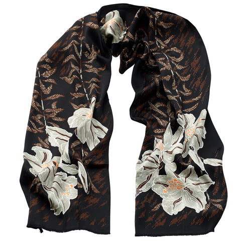 Thea Porter - Silk Satin Floral Scarf Brown