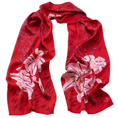 Thea Porter - Silk Satin Floral Scarf Red