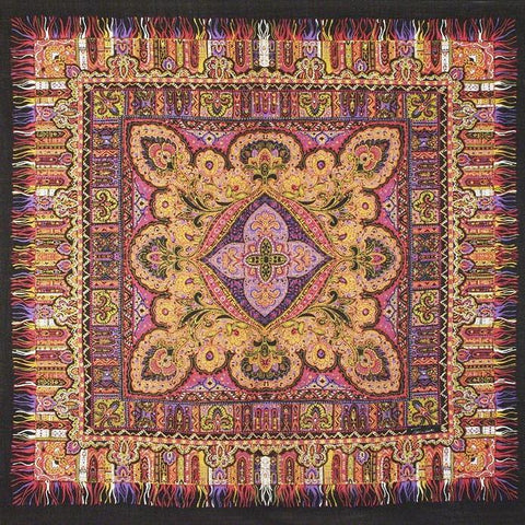 "Tino Lauri - Purple & Orange Paisley Fringe 46"" x 46"" 100% Wool Shawl 24"