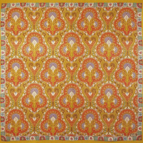 "Tino Lauri - Gold & Orange Paisley 50"" x 50"" 100% Wool Shawl 27"