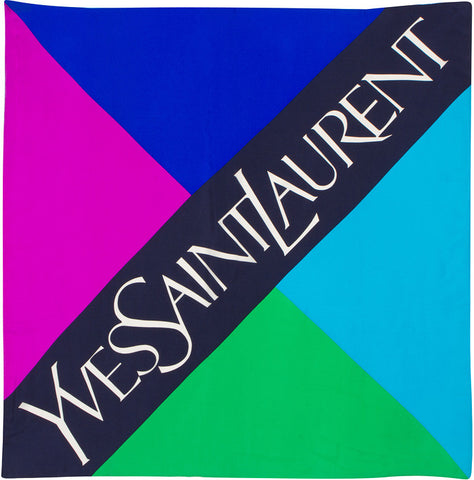 YSL - 100% Silk Square Logo Block - Purple/Blue