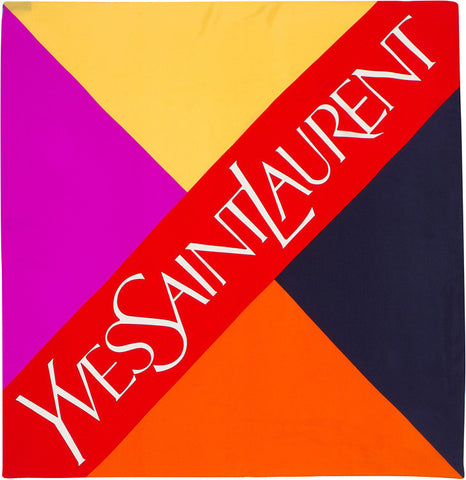 YSL - 100% Silk Square Logo Block - Purple/Yellow