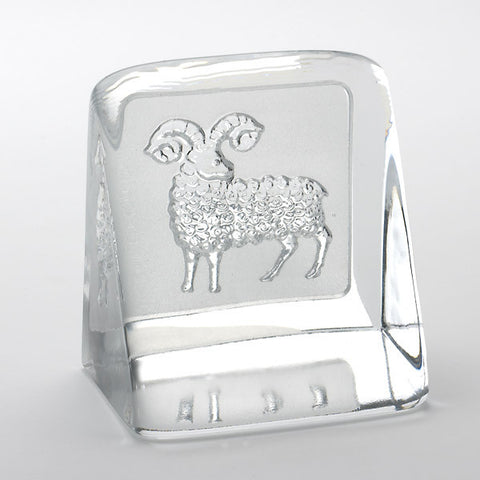 Swedish Crystal Zodiac Paperweight - Aries