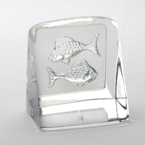 Swedish Crystal Zodiac Paperweight - Pisces
