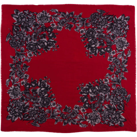 Rodier - Wool Floral Shawl 2154-3 Red