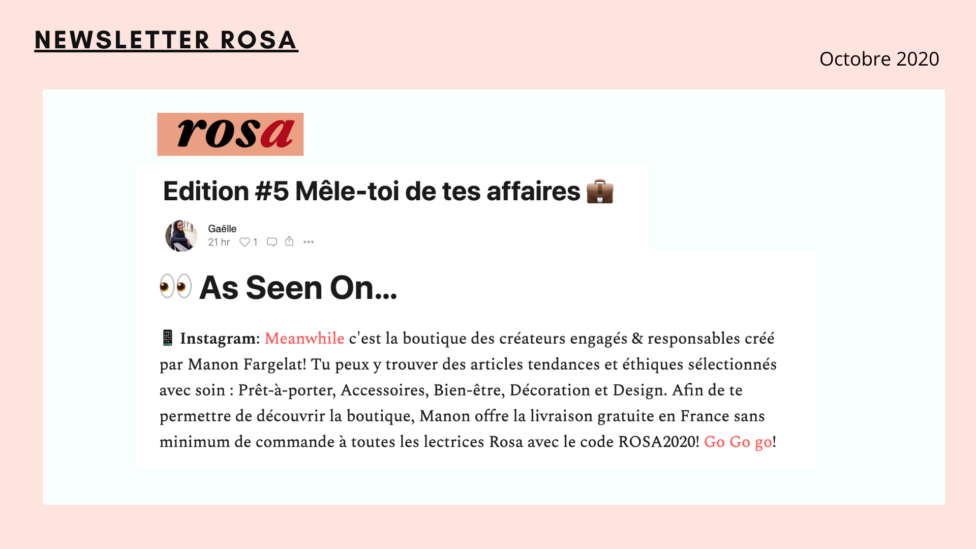 Newsletter Rosa code promo meanwhile boutique