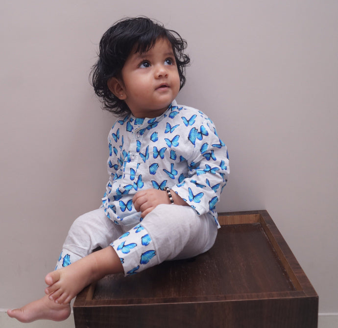 Pyjama set for boys and girls : Blue Butterfly print Joey Care