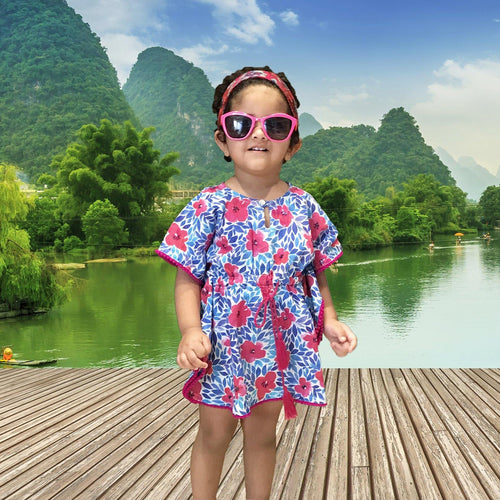Kaftan for Girls and Women - Blue Pink Flowers Joey Care
