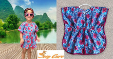 Load image into Gallery viewer, Kaftan for Girls and Women - Blue Pink Flowers Joey Care