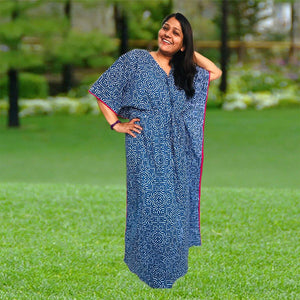 Kaftan for Girls and Women - Indigo Block Joey Care