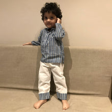 Load image into Gallery viewer, Pyjama set for boys and girls - Indigo Stripes Joey Care