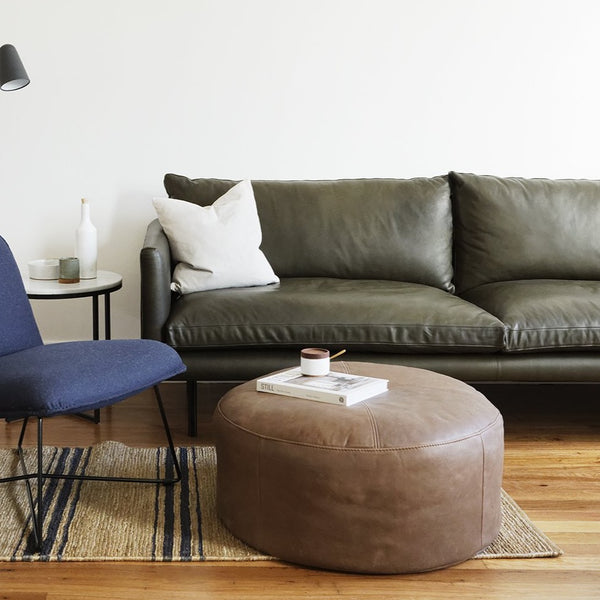 Max Leather Ottoman by Design Kiosk
