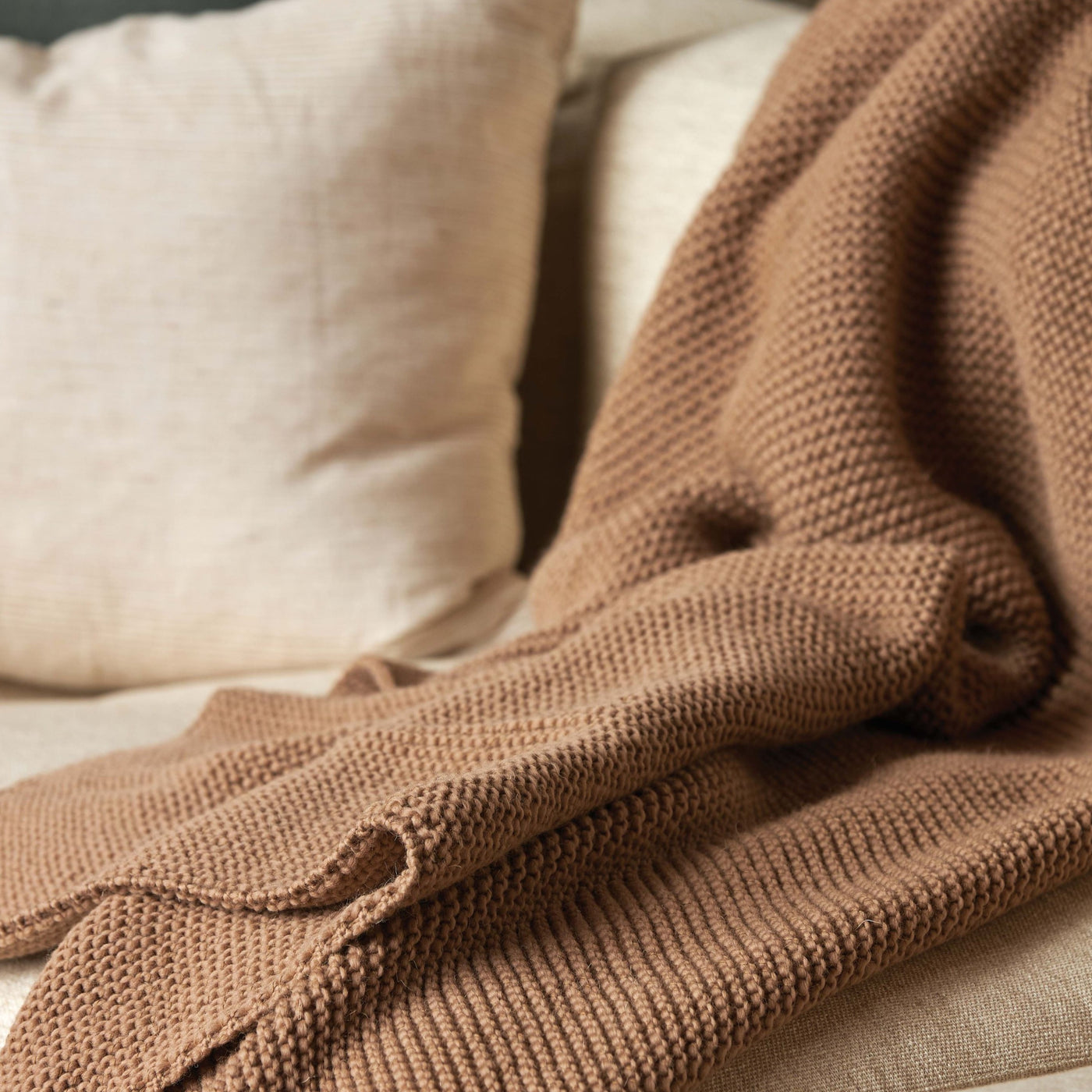 Purl Knit Throw in Walnut by Citta
