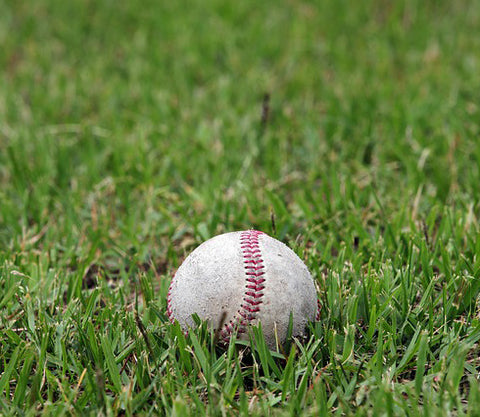 a baseball lying on green grass