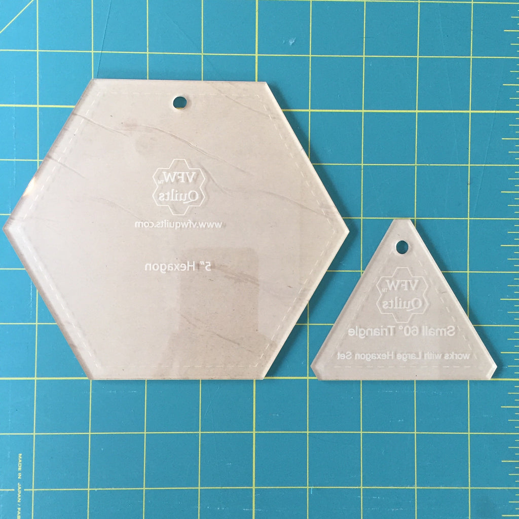 "5"" Hexagon Acrylic Template + Triangle set: VFW quilts"