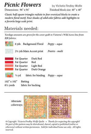 *NEW* Picnic Flowers Quilt: Pattern