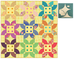 "*NEW* Flowery Florid Blooms Yellow 90"" Quilt: Fabric Kit"
