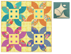 "*NEW* Flowery Florid Blooms Yellow 60"" Quilt: Fabric Kit"