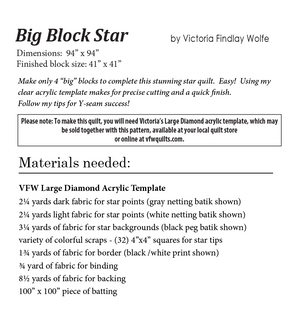 Big Block Star: *Pattern Instructions Only