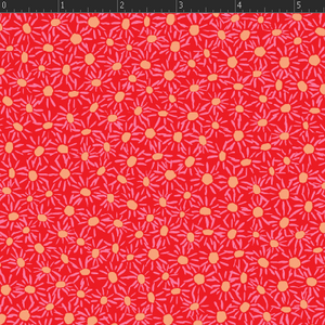 Daisies - Red Fabric VF306-RE1