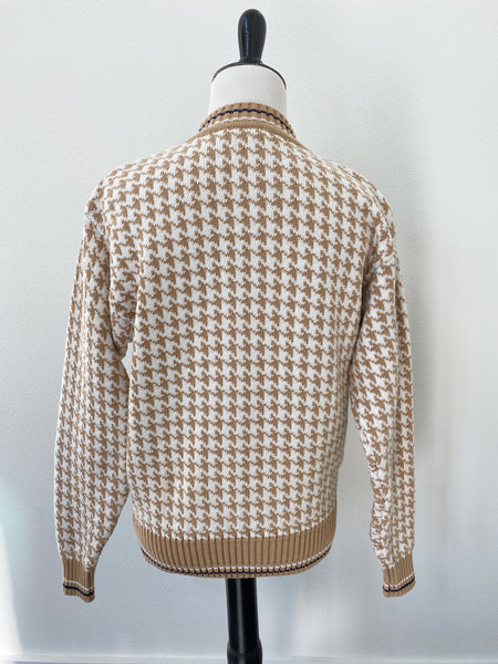 Gold & White Houndstooth Sweater - Size XS/S