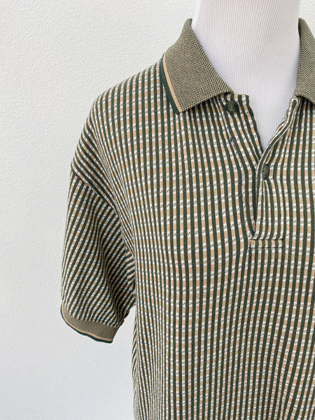 Short Sleeve Green & Gold Polo - Size L