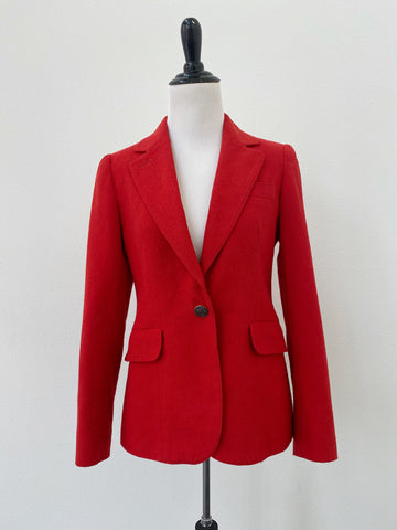 Red Tailored Wool Blend Blazer - Size M