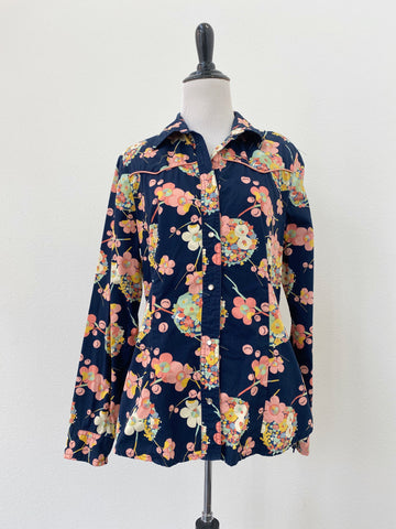 Retro Floral Pearl-Snap Button-Up - Size L