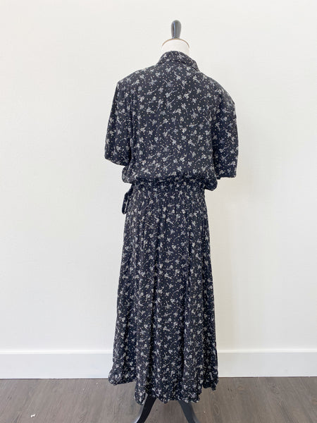 Leslie Fay Black Floral Print Wrap Dress - Size M