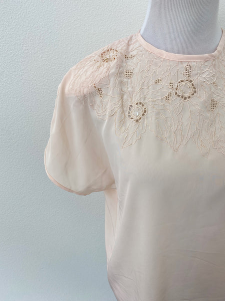 Blush Lace & Embroidery Top - Size S