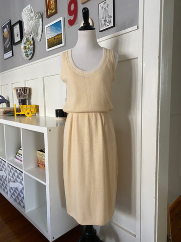 St John for Saks Fifth Avenue Sleeveless Yellow Knit Dress - Size M