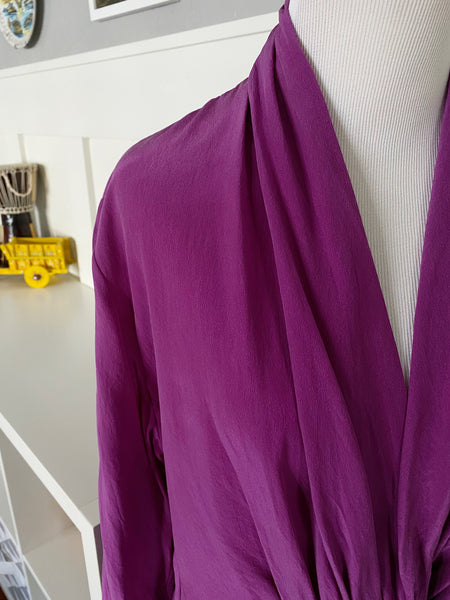 Purple Long Sleeve 100% Silk Double Breasted Shawl Neck Shirt - Size M