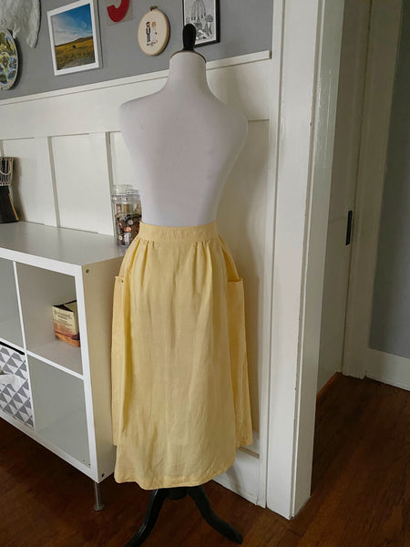 Yellow Button Front Skirt w/ Side Pockets - Size S
