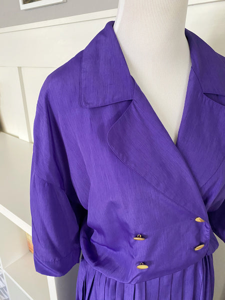 Purple Double Breasted Dress w/ Pleated Skirt - Size XL