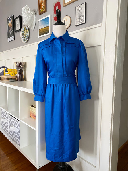 Blue Dress w/ Detailed Yoke - Size S
