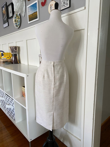 White Boucle Pencil Skirt - Size S