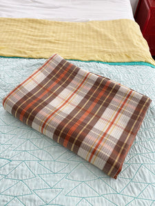 Sears Toughcord Red and Brown Plaid Full Size Bedspread