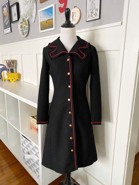 Black Lightweight Long Jacket w/ Red Trim - Size S