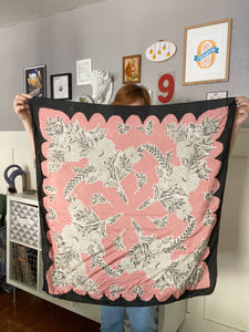 Large Pink Scarf with Bouquet Floral and Black Scalloped Trim / Pure Silk