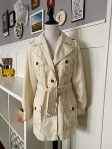 Light Yellow (Butta) Jacket with Belt and Exaggerated Collar - Size S