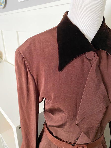 Brown Velvet Collared Dress - Size M