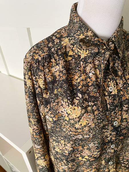 Long Sleeve Floral Top w/ Bow - Size L/XL